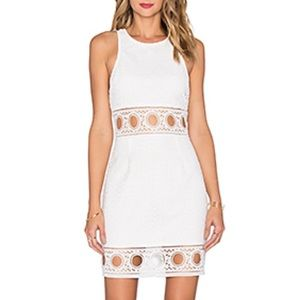 SAYLOR Kaelyn White Lace Dress, Lined, Back Zipper